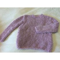 Sweater Pullover Lana Tejido A Mano Pelo Mono Rosa Viejo