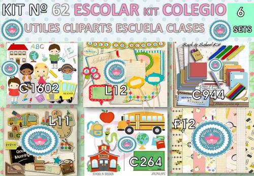 1 Kit Imprimible X6 Escolar Inicio Clases Cliparts Fondos Y+