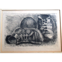 Tinta Grabado Antiguo Original Enmarcado - Antonio Alice (?)