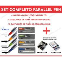 Set Completo Parallel Pen 4 Plumas + Cartuchos Negros Color