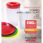 Jarra Plastica 2 Litros + 12 Platos + 12 Vasos