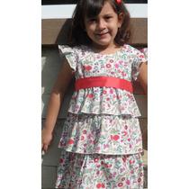 Vestido Nena Diseño Romántico Bordado Con Volados1° Marca