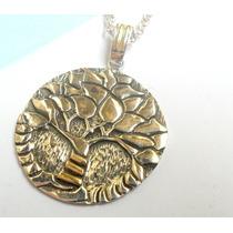 Dije Medalla Arbol De La Vida En Plata 925 Y Oro 18k.