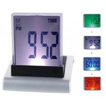 Despertador Reloj Trasparente Con Luz 4 Colores.