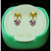 Abridores Oro 18k Piedra Rosa Aros Joyería Joyas Bebé Bolita