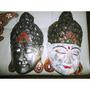 Máscara Buda, Tallada En Madera- Artesanía Indonesia