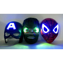 Máscara Luz Led Avengers Spiderman Hulk Cap América Marvel