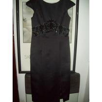 Vestido Largo Negro De Fiesta Talle 48 Lavable + Chal Negro