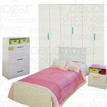 Cama Dormitorio Juvenil Mesa Luz Placard 6 Chifonier Mosconi