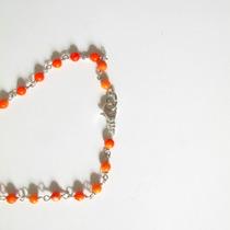 Collar Largo Finisimo Color Coral Naranja Con Plateado