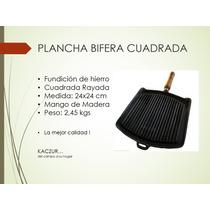 Plancha Bifera De Fundición De Hierro Cuadrada Rayada Kaczur