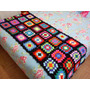 Manta O Pie De Cama Tejido Crochet En Diseño Vintage!!!!