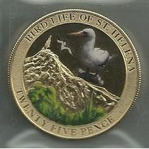 Moneda Santa Helena Año 2013 Color Pajaro Albatros