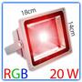 Reflector Led 20w Rgb C/ Remoto Exterior 16 Colores + Blanco