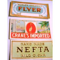 Lote 3 Antiguas Etiquetas Cigarros Habanos Usa Imp. Flyer