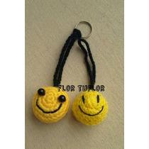Pack X 10 Carita Bola Smile Tejida Crochet Colgante Llavero