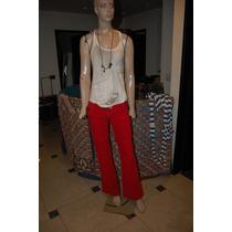 47 Street Pantalon De Corderoy Color Rojo Tiro Bajo