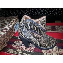 Borcego De Taco Alto Animal Print Cebra Talle 39