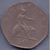 Inglaterra 50 New Pence 1981 * Elizabeth Ii *