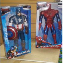 Muñeco 40 Cm Capitan América Y Hombre Araña