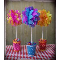 Topiarios Flores De Papel Pompones Centros De Mesa