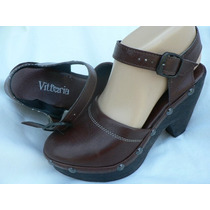 Zapato Sandalia Zueco Cuero Nº 37 Plataforma Tachas