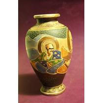 Antiguo Jarrón De Porcelana Oriental Satsuma