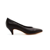 Stiletto Bajo Taco 4,5 Cm Cobra Negro - #1001 - Natacha Fw16