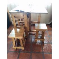 Mesa Diaria Auxiliar De Cocina Plegable Con Dos Banquetas