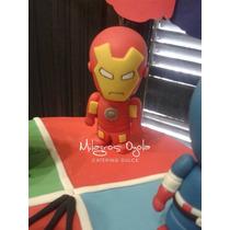 Avengers-vengadores- Iron Man- Adorno Torta- Porcelana Fria