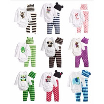 Set Conjunto 3 Piezas Body Pantalon Gorro. Mickey Y Animales