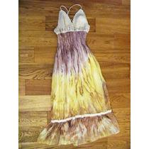 Vestido Mujer De Gasa Y Tejido Al Crochet Importado