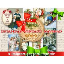9 Postales Tarjeta Navidad Navideñas Retro Vintage Decoupage