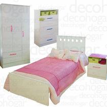 Dormitorio Juvenil Cama Placard Chifonier Mes De Luz Mosconi