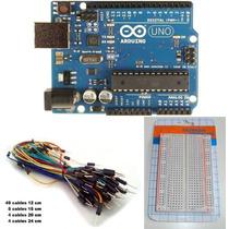Kit Arduino Uno R3 C/c+ Protoboard 400 Pts + Cables M M X 65