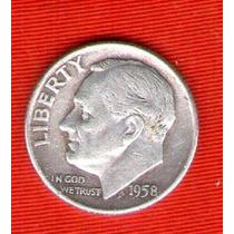 Monedas Ee.uu 1 Dime 1958 De Plata