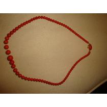 Collar De Coral Broche De Oro Sellado Muy Antiguo Exelente