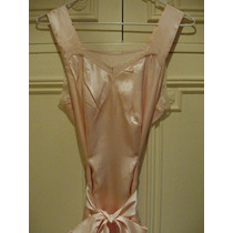 Vestido Largo Con Breteles Seda Rosa - Puntilla Francesa