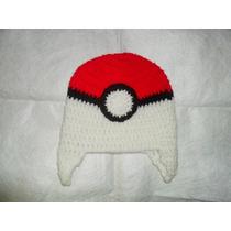 Gorro Tejidode Invierno Infantil Al Crochet Pokebola