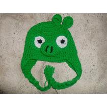 Gorro Tejido Al Crochet Angry Bird Chancho