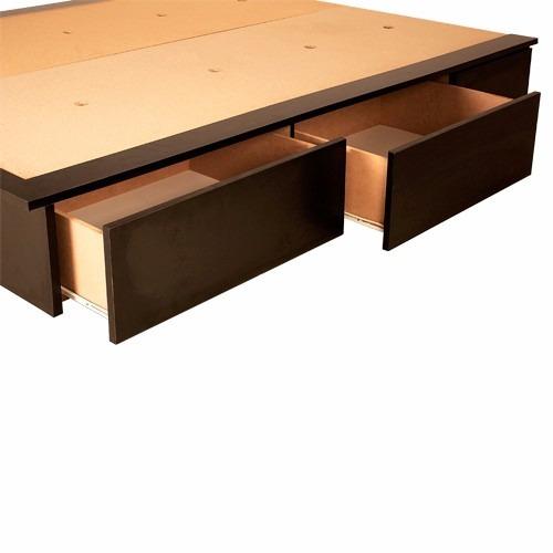 Box sommier base somier cama 2 plazas 4 cajones y baulera for Cama 120x190