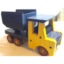 Camion Volcador De Madera Artesanal Mide 30 Cm De Largo