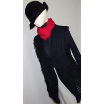Saco Cardigan Pullover Cuello Crochet Con Flecos Negro T 42