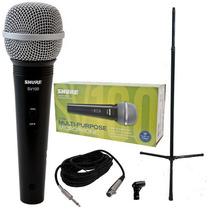 Combo De Micrófono Shure+soporte Recto+cable+antipop Envios