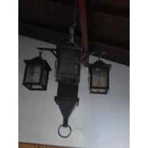 Antigua Y Original Araña De Hierro Con 4 Farolas