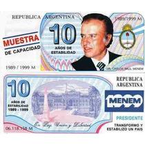 Billete Publicidad Campaña Menem 1999 Nuevos Centro