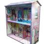 Casa De Muñecas Madera Mdf Ilustrada Para Barbie Gloria