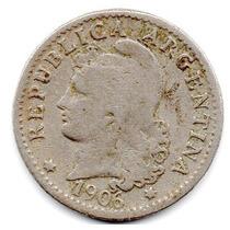 Moneda Argentina Antigua 5 Ctvs.1906.muy Buena.alto Valor