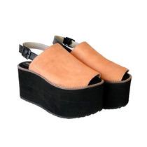 Clippate Plataformas Mujer Cuero Gamuza Zapatos Goma Verano