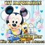 Kit Imprimible Mickey Bebe Candy Bar Diseñá Tarjetas Mas 2x1